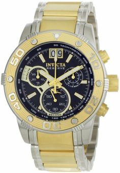 Invicta Men's 0761 Reserve Collection Chronograph 18k Gold-Plated and Silver-Tone Stainless Steel Watch Invicta. $209.95. Durable flame-fusion crystal; brushed and polished 18k gold-plated and silver-tone stainless steel case and bracelet. Water-resistant to 330 feet (100 M). Precise Swiss-quartz movement. Blue dial with gold-tone hands and hour markers; luminous; 18k gold-plated stainless steel unidirectional bezel, crown and pushers; tachymeter on inner bezel. Chronog...