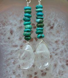 Turquoise Quartz Dangle Earrings by abbyhorowitzdesigns on Etsy, $45.00