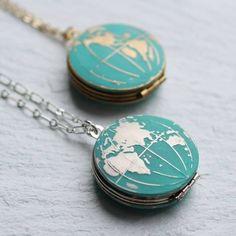 Silk Purse, Sow's Ear World Map Globe Locket ($56) ❤ liked on Polyvore featuring jewelry, pendants, world map jewelry, silk jewelry and locket jewelry