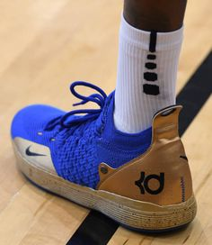 best website 0c6ca 469a3 Kevin Durant of the United States wears Nike KD sneakers during a practice  session at the