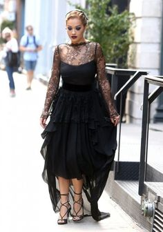 Rita Ora Lace Dress - Rita Ora brought a high dose of glamour to the streets of…