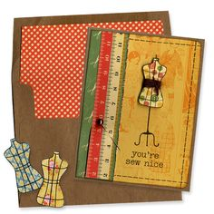 Stamped Dress Form Sewing Card