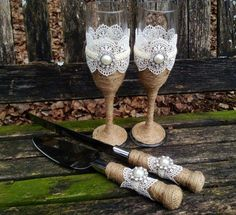 Vintage Rustic Chic Cake Serving Set and by DaisyDazeDesign