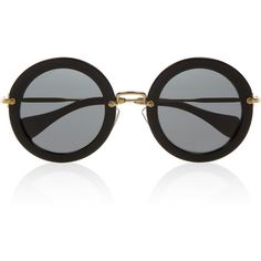 Miu Miu Round-frame acetate sunglasses (355 AUD) ❤ liked on Polyvore featuring accessories, eyewear, sunglasses, glasses, black, round frame, acetate sunglasses, round frame glasses, uv protection sunglasses and miu miu sunglasses