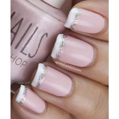 glittered french tip nails found on Polyvore