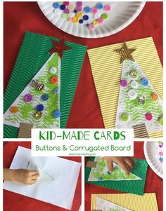 Kid made button & corrugated board Christmas cards!