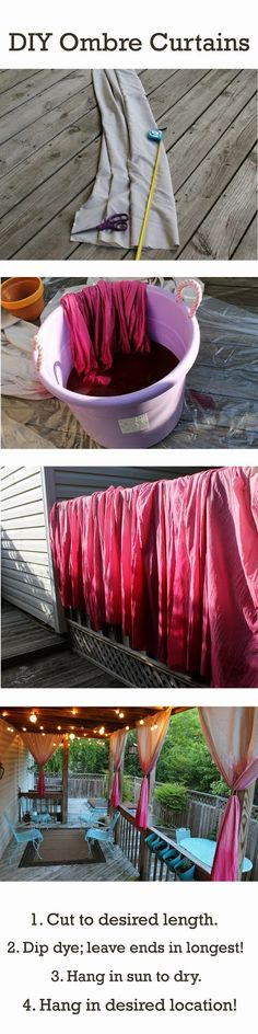 DIY Ombre Curtains for our back porch. Inside or Outside Curtains. could use drop clothes