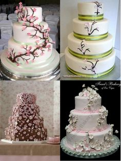 I really like the simplicity of a wedding cake with flowers wrapping from the base. These play to my love of cherry blossoms!