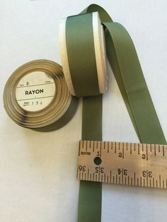 "Vintage 1"" Rayon Millinery Petersham Grosgrain - 6 yards - Green by AnafrezNotions on Etsy"