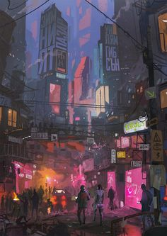 Winter Market by Ismail Inceoglu : Cyberpunk Cyberpunk City, Ville Cyberpunk, Cyberpunk Kunst, Cyberpunk Aesthetic, Futuristic City, City Aesthetic, Fantasy Landscape, Fantasy Art, Wallpapers Games