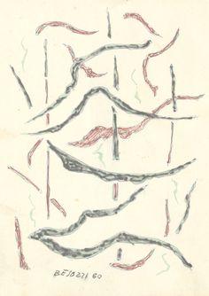 E. Besozzi pitt. 1960 Forme pennarello biro e acquerello su carta cm. 15,3x11 arc. 660