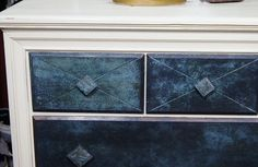 6 drawer painted Dresser. Artistically embellished with a patinated deep blue finish. Located:Eclectiques Antique Mall, 3265 N High St., Columbus, Ohio, 12 - 6 p.m., 7 days a week