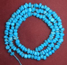 "Sleeping Beauty Turquoise Loose Small Pebble Gemstone Beads Blue 18"" Std  # 272 #SleepingBeauty #Southwest"