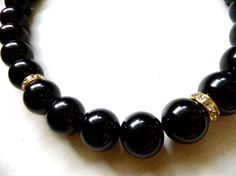 Round Bead Necklace with Diamond Accents by donidoni on Etsy, $35.00
