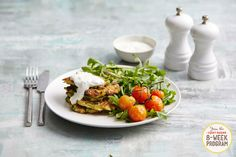 Zucchini and Halloumi Fritters. A meal from the next round of our 8-Week Program. Sign up here: http://iquitsugar.com/8-week-program/