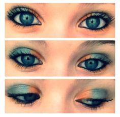 Orange and gray make up for blue eyes. might try this sometime...