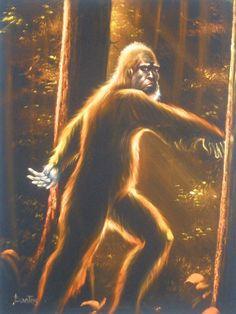 Sasquatch Bigfoot monster legend black velvet oil painting handpainted signed art by VelvetPaintings on Etsy Velvet Painting, Bigfoot Sasquatch, Paint Brands, Classic Monsters, Weird Art, Hand Painted Signs, Fantastic Beasts, Black Velvet, Artist