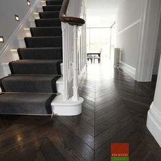 Chevron Hardwood Floors 1 My Nest Wood Floor Stairs Wood Floor Wood Floor Stairs, Hallway Flooring, Parquet Flooring, Wood And Carpet Stairs, Carpet Runner On Stairs, Carpet Staircase, Wooden Flooring, Laminate Flooring, Grey Wood Floors