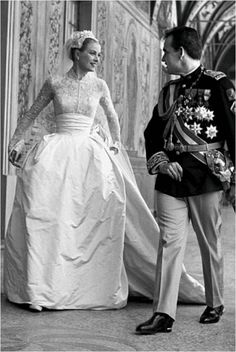 On April 18, 1956, Prince Rainier III, 32, married American actress Grace Kelly, 26, in Monte Carlo, after a short engagement. Princess Grace of Monaco died on September 14, 1982 in a car accident.    Grace Kelly married Prince Rainier III in an incredible gown designed by Helen Rose.