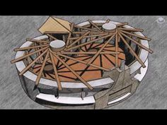 Strawbale house with double reciprocal roof. : Strawbale house with double reciprocal roof. Cob Building, Green Building, Building A House, Dome House, House Roof, Roof Design, House Design, Earthship Home, Natural Homes