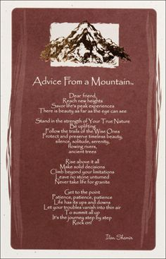 Advice from a mountain...