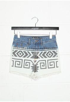Aztec Print Denim Shorts - shorts - missguided