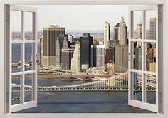 "New York City View Urban City Scape Home Office Kitchen Kids Nursery Room Gift 3D Unique Window Depth Style Vinyl Print Removable Wall Sticker Decal Mural Size 33.5"" x 47"" by Bomba-Deal Bomba-Deal http://www.amazon.com/dp/B00N63GWP0/ref=cm_sw_r_pi_dp_eTIuub0VCTWD7"