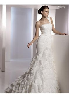 [£ 153.05] organza one shoulder strap with rouched bodice and mermaid layer skirt 2010 new hot sell wedding dress wd 0112