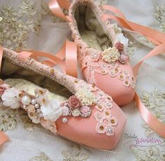 Decorated pointe shoes