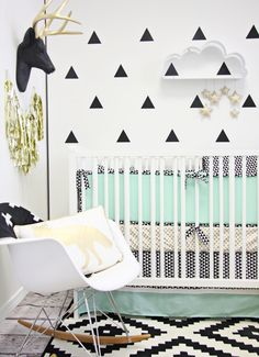 Modern Black and White Nursery with Gold and Mint Green Accents