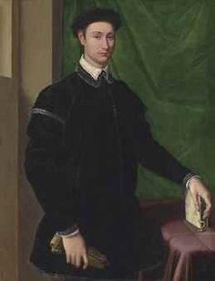 Jacopino del Conte (Florence c. 1515-1598 Rome)    Portrait of a gentleman, three-quarter-length, in a black fur-trimmed doublet with a white collar, wearing a black cap, a pair of gloves in his right hand, his left hand resting on a book, before a green curtain    16th Century, Paintings   Christie's