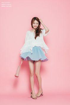 CHLO.D.MANON   MODEL:   STYLE: feminine - LIST ITEM: Bohemian blouse/ babydoll blouse/ peasant blouse (white), round skirt ( calm blue), chunky heels, shoulder handbag -MORE: wavy hair
