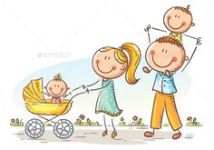 Buy Happy Family with Two Children Walking Outdoors by katya_dav on GraphicRiver. Happy cartoon family with two children walking outdoors Drawing Lessons For Kids, Art Drawings For Kids, Doodle Drawings, Cute Drawings, Art For Kids, Cartoon Cartoon, Happy Cartoon, Cartoon Drawings, Cute Family