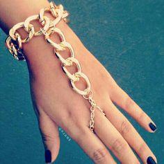 Over sized chain bracelet & ring