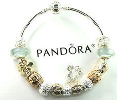 Authentic Pandora Silver bangle charm bracelet with European Charms gold laugh #Pandoralobsterbangleclaspclaw #European