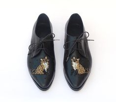 IN STOCK Flat leather shoes Black leather shoes by KatzAndBirds