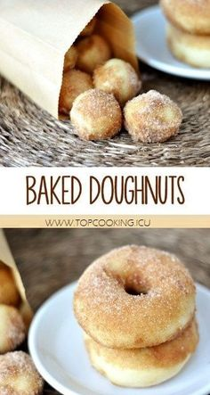 Imagine the fluffiest, chewiest morsel of homemade doughnut goodness you have ever had, and you have these baked doughnuts. Homemade Baked Doughnuts - These, baked not fried doughnuts are irresistibly good. Baked Donut Recipes, Baked Doughnuts, Yummy Recipes, Sweet Recipes, Cake Donut Recipe Baked, Simple Donut Recipe, Sourdough Doughnut Recipe, Baked Doughnut Holes, Doughnut Muffins
