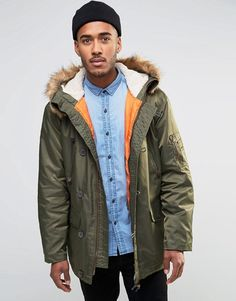 Shop Farah Hooded Parka Coat with Faux Fur Trim Hood at ASOS. Hooded Parka, Parka Coat, Asos, Winter Coats, Fur Trim, Nylons, Faux Fur, Fashion Online
