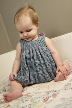 Baby Knit Dress Patterns – Knitting And We Knitting For Kids, Baby Knitting Patterns, Crochet For Kids, Baby Patterns, Knit Crochet, Knitted Baby, Dress Patterns, Knit Baby Dress, Crochet Baby Clothes