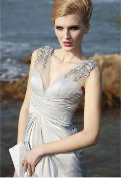 Silver Gray Grey Platinum Rhinestone Deep V Silk Satin Gown , Wedding Reception Prom Evening Maxi Dress. $299.00, via Etsy.