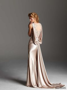 Champaign Bias Gown With Embroidered Bodice by Rafael Cennamo - has a great 1930's look and feel!
