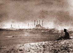 Russian soldier overlooks the Selimiye Mosque, Edirne, 1878