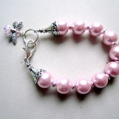 Pink Pearl Jewelry Pink Bracelet Dragonfly Charm Silver by cdjali, $18.00
