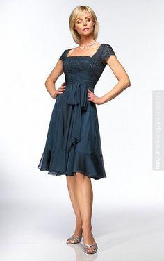 Dark Navy Sheath Knee-length Square Dress, Cheap Mother Of The Bride Dresses Uk