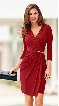 Faux wrap bar detail dress from Boston Proper on Catalog Spree Women's Dresses, Dress Outfits, Fashion Dresses, Dresses For Work, Formal Dresses, Wrap Dresses, Dress Skirt, Dress Up, Bodycon Dress