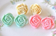 Pastel Rose Post Earrings  3 Pair Pink and Mint by heathernn1, $34.00