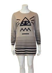 long sleeve eye print jumper