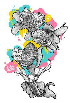 Melodic Fishes, Keyvisual und T-Shirt Design für Dudes Factory © Casiegraphics