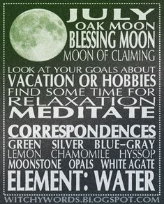 July Blessing Moon esbat ritual goals and spell work ideas - pagan - witch - Pinned by The Mystic's Emporium on Etsy Wicca Witchcraft, Magick, Moon Magic, Sabbats, Moon Phases, Moon Moon, New Moon, Book Of Shadows, Spelling