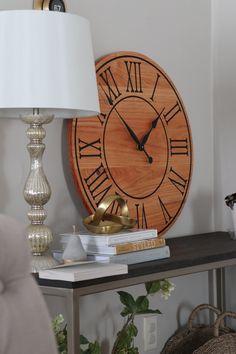 "26"" honey locust wall clock. Solid hardwood, free shipping. Honey Locust, Handmade Clocks, Types Of Wood, Hardwood, Numbers, Free Shipping, Wall, Home Decor, Wood Types"